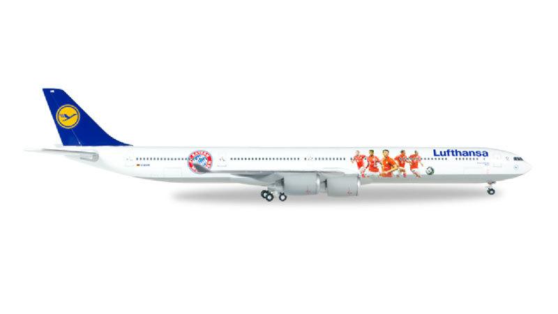 "Herpa Wings Lufthansa Airbus A340-600 1:400 ""FC Bayern Audi Summer Tour USA 2016"" Registration D-AIHK"