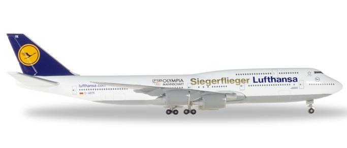 "Herpa Wings Lufthansa Boeing 747-8 Intercontinental 1:500 ""Siegerflieger Olympia Rio 2016"" Registration D-ABYK"