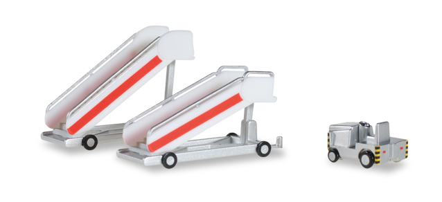 Herpa Wings Airport Accessories: Historical Passenger Stairs + Tractor 1:200