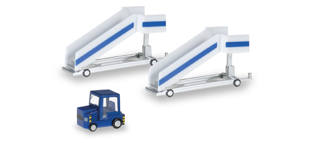 Herpa Wings Airport Accessories: Passenger Stairs + Tractor 1:200