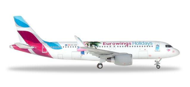"""Herpa Wings Eurowings Europe Airbus A320 1:400 """"Eurowings Holidays"""" Registration OE-IQD"""