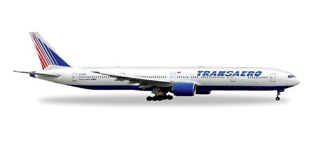 Herpa Wings Transaero Airlines Boeing 777-300 1:500 Registratin EI-UNM