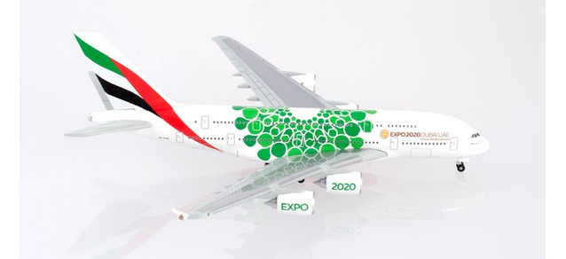 "Herpa Wings Emirates Airbus A380 Expo 2020 Dubai, ""Sustainability"" livery 1:500 Registration A6-EOW"