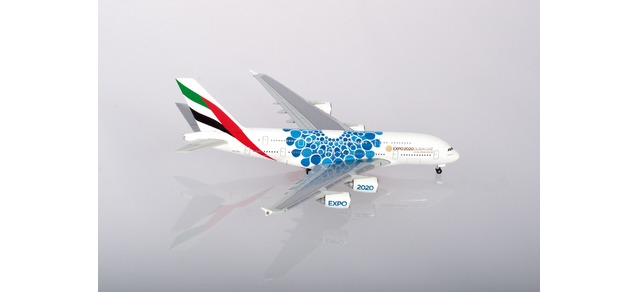 """Herpa Wings Emirates Airbus A380 - Expo 2020 Dubai """"Mobility"""" Livery 1:500 Registration A6-EOC"""